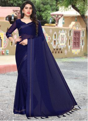 Navy Blue Satin Saree