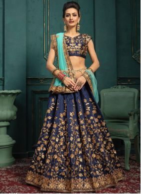 Navy Blue Sequins A Line Lehenga Choli