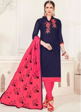 Navy Blue Silk Casual Churidar Salwar Kameez