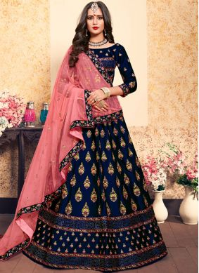 Navy Blue Thread Wedding Designer Lehenga Choli