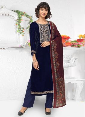 Navy Blue Velvet Embroidered Pant Style Suit