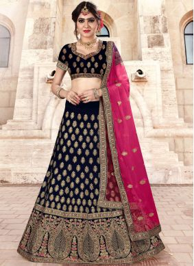 Navy Blue Velvet Wedding Lehenga Choli