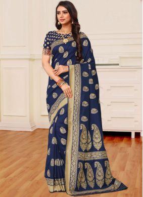 Navy Blue Weaving Banarasi Silk Saree