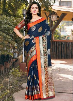 Navy Blue Weaving Ceremonial Designer Saree