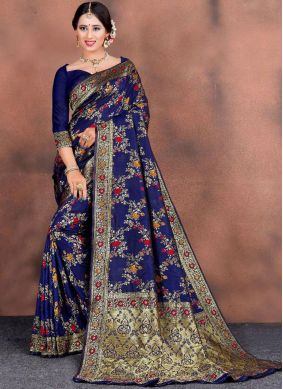 Navy Blue Weaving Festival Trendy Saree