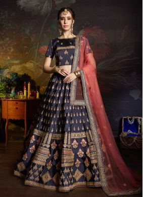 Navy Blue Wedding Satin Lehenga Choli