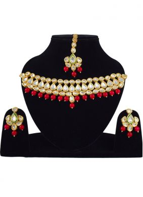 Necklace Set Stone Work in Gold and Red