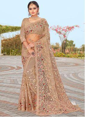 Net Beige Embroidered Designer Saree