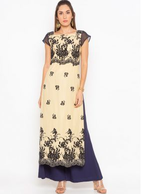 Net Beige Embroidered Party Wear Kurti