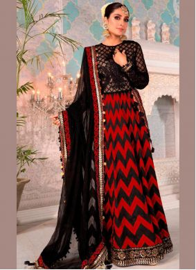 Net Black and Red Embroidered Floor Length Anarkali Suit