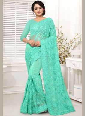 Net Blue Embroidered Classic Saree