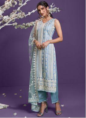 Net Blue Embroidered Designer Straight Suit