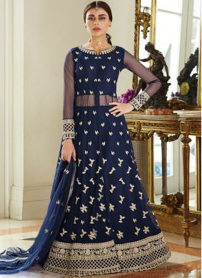 Net Blue Resham Long Choli Lehenga