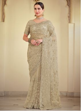 Net Bollywood Saree in Brown