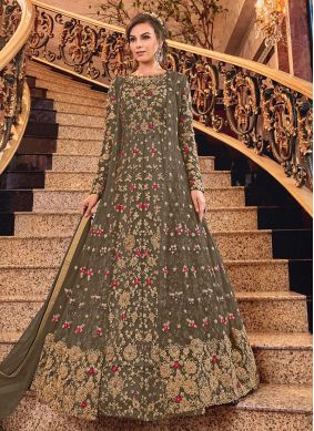 Net Brown Designer Salwar Suit