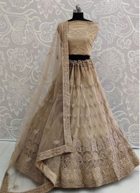 Net Brown Embroidered Lehenga Choli