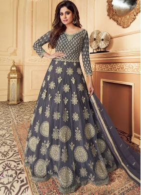 Net Ceremonial Designer Floor Length Salwar Suit