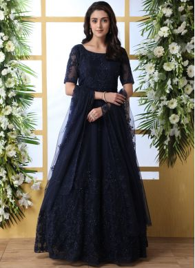 Net Designer Gown in Navy Blue