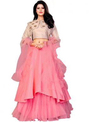 Net Designer Lehenga Choli in Rose Pink