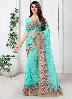 Turquoise Net Designer Saree