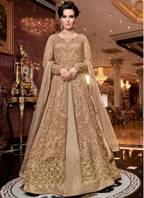 Net Embroidered A Line Lehenga Choli in Cream