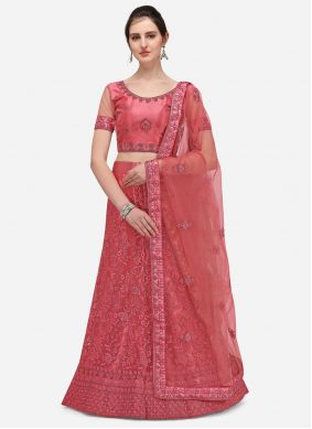 Net Embroidered A Line Lehenga Choli in Pink