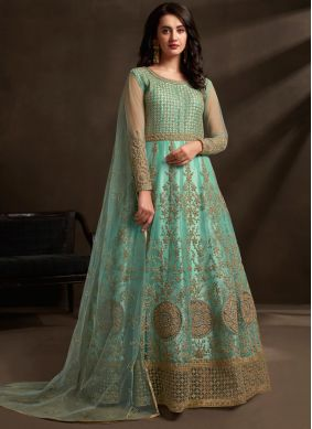 Net Embroidered Aqua Blue Designer Gown