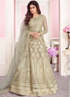Net Embroidered Beige Anarkali Salwar Kameez