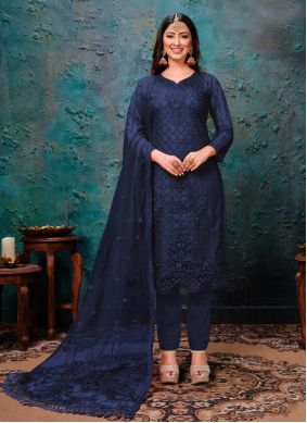 Blue Net Embroidered Blue Pant Style Suit