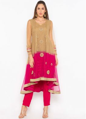 Net Embroidered Brown and Pink Party Wear Kurti