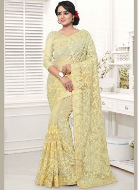 Net Embroidered Classic Designer Saree in Cream