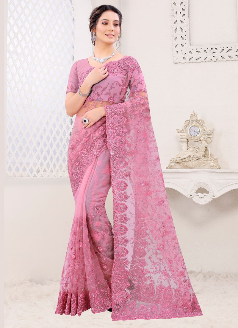 Pink Net Embroidered Classic Saree
