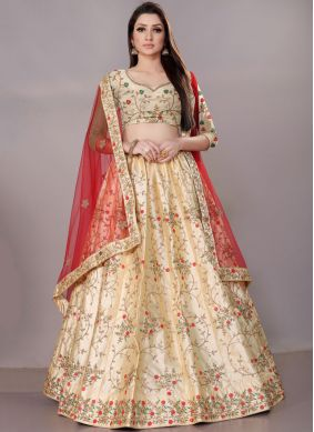 Net Embroidered Cream Lehenga Choli