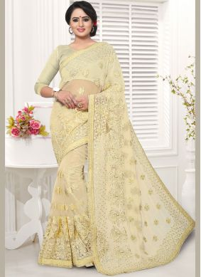 Net Embroidered Cream Saree
