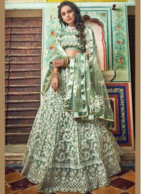 Net Embroidered Designer Lehenga Choli in Green