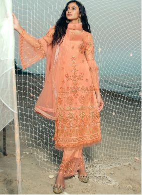 Net Embroidered Designer Palazzo Suit in Peach