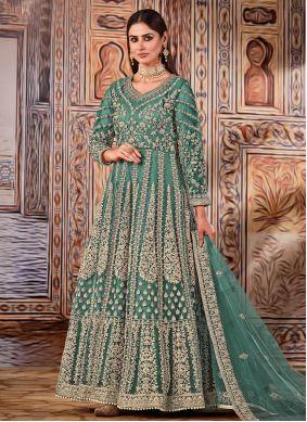 Net Embroidered Floor Length Designer Suit in Sea Green