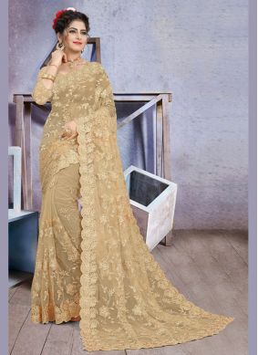 Net Embroidered Gold Classic Saree