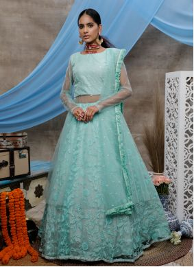 Net Embroidered Green Designer Lehenga Choli