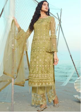 Net Embroidered Green Designer Palazzo Suit