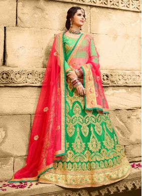 Net Embroidered Green Lehenga Choli