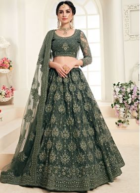 Net Embroidered Green Trendy A Line Lehenga Choli