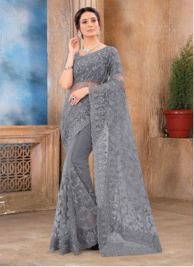 Net Embroidered Grey Classic Saree