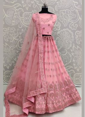 Net Embroidered Hot Pink Lehenga Choli