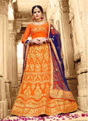 Orange Net Embroidered Lehenga Choli