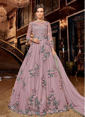 Net Embroidered Mauve  Anarkali Salwar Kameez