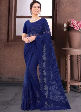 Net Embroidered Navy Blue Contemporary Saree