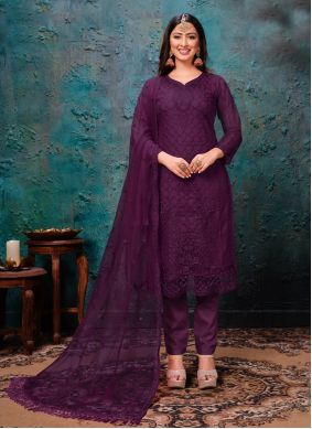 Net Embroidered Pant Style Suit