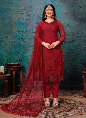 Net Embroidered Pant Style Suit in Maroon