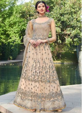 Net Embroidered Peach Designer Gown
